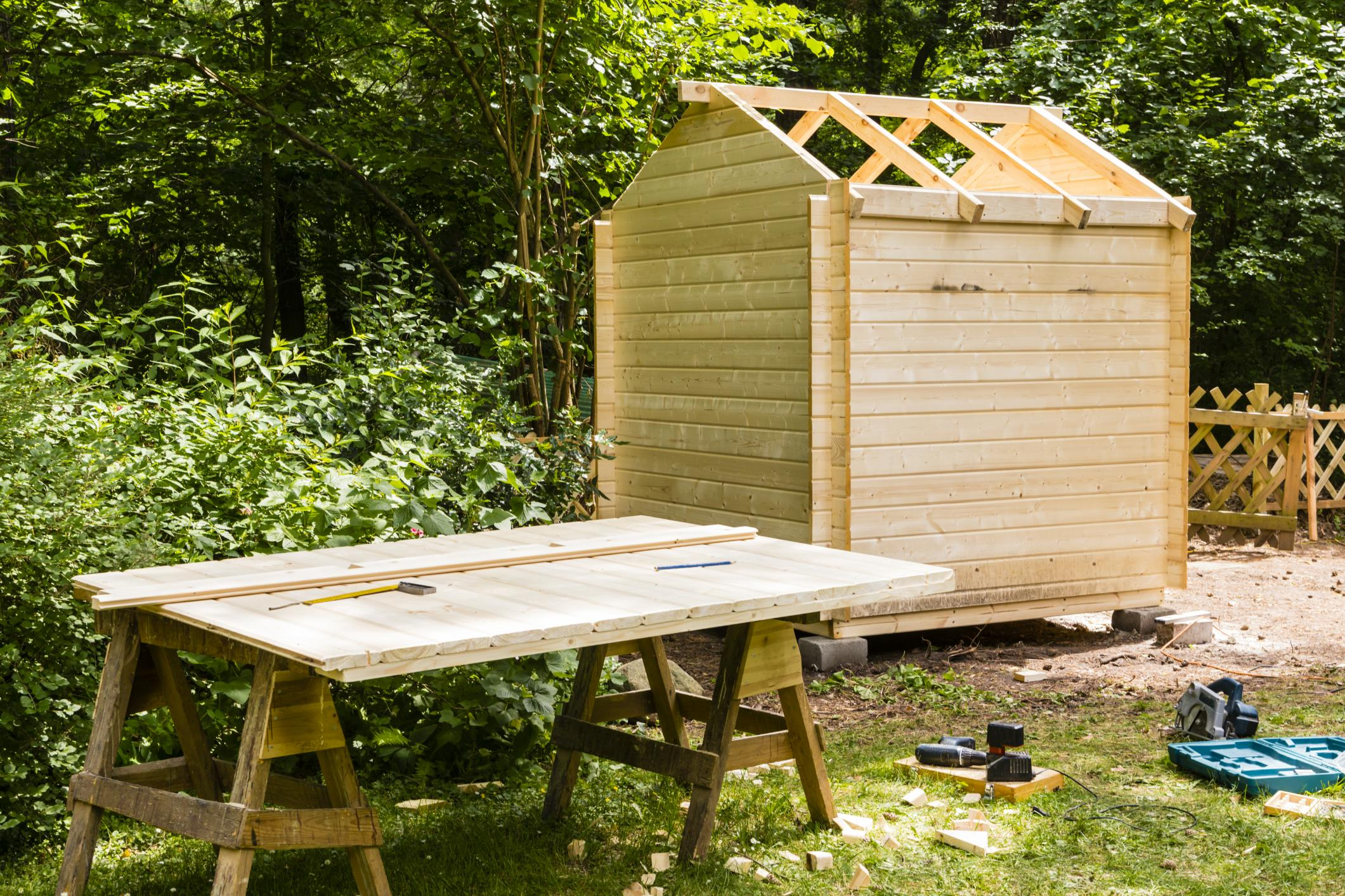 Custom wooden shed in the process of being constructed by Springfield Shed Builder