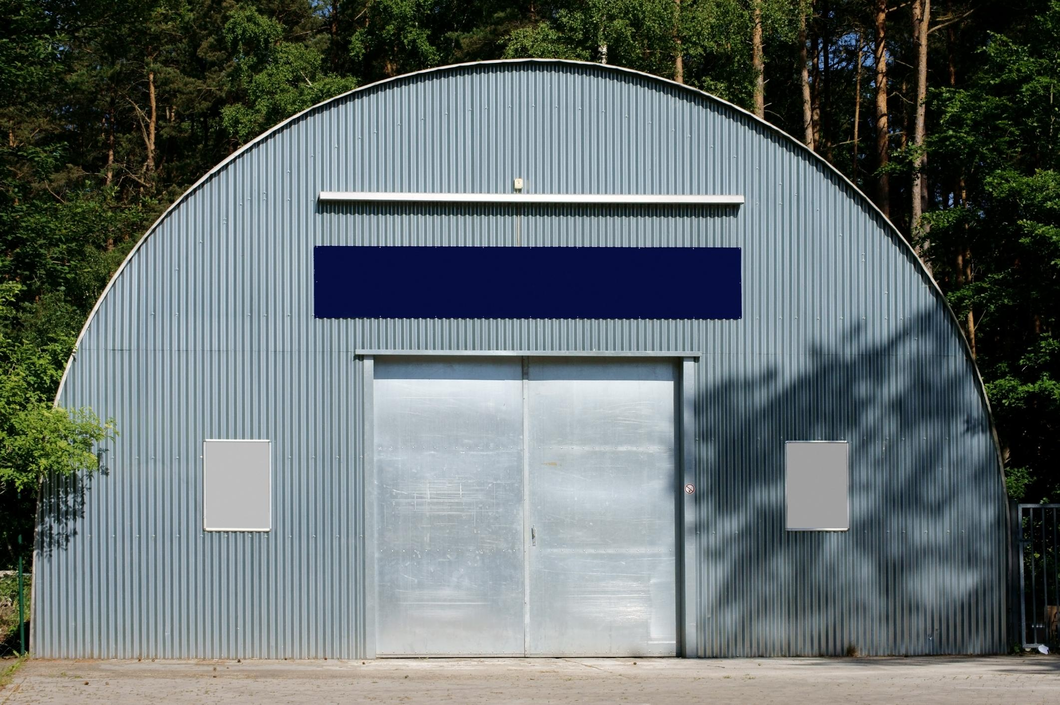 custom hangar style metal shed built by Springfield shed builder