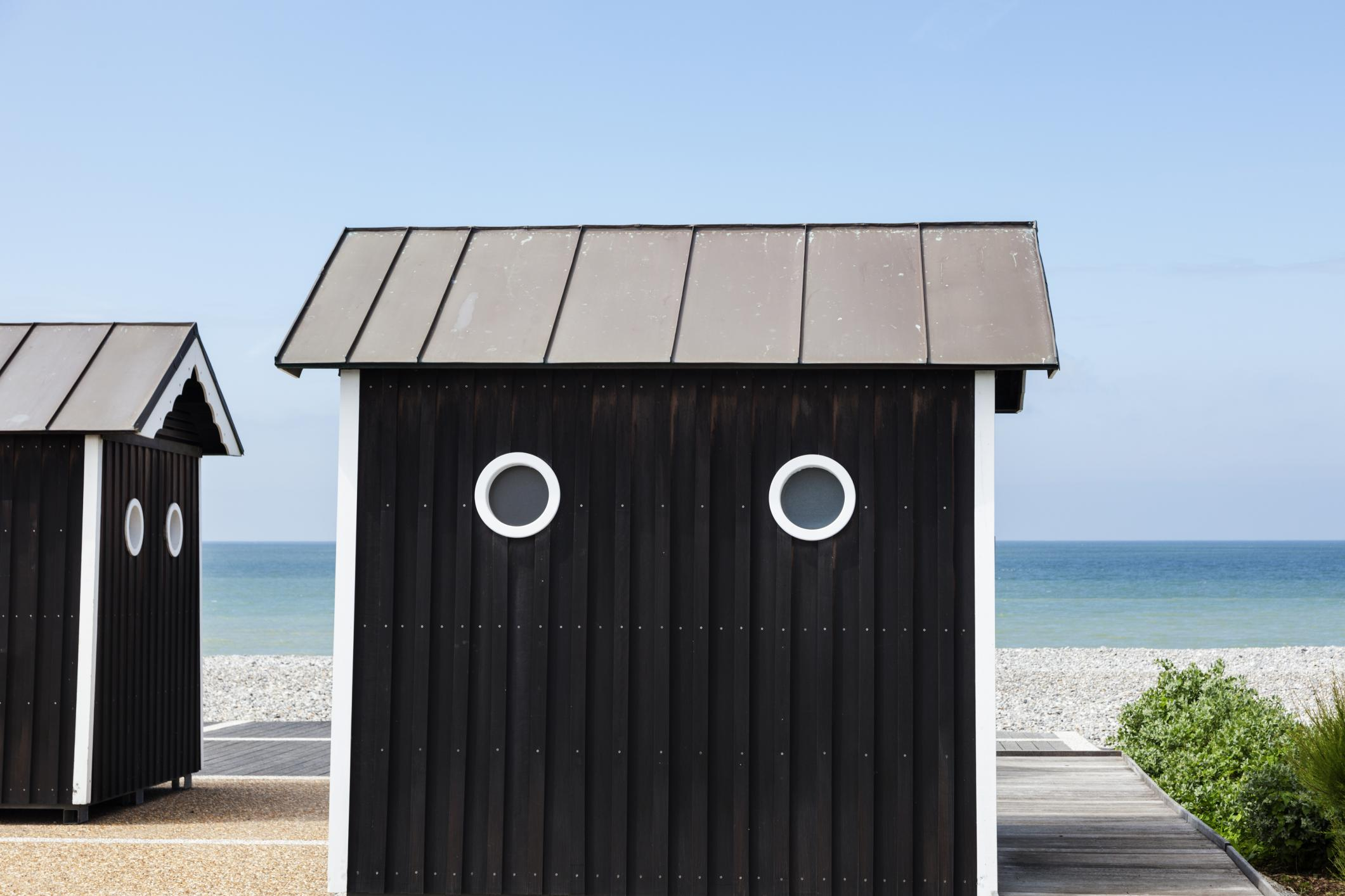 custom outdoor storage shed with the beach in the background